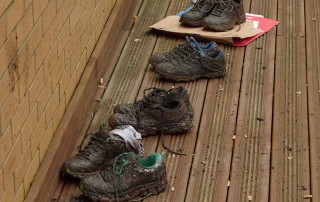 Muddy shoes at Horsforth Vets by Andrew Hardaker