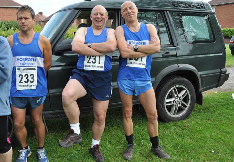 Pre Leeds Country Way Leg 2 run malarkey - Irish 'Spot the Ball' competition! - with partner Steve Wood (Photo: John Wharam)