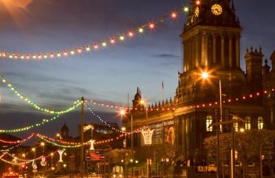 Town Hall and Christmas Lights on The Headrow Leeds